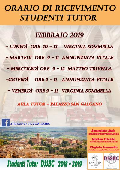 orario tutor febbraio 2019